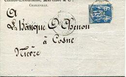 Ardennes. CHARLEVILLE. 1887. Perforé CA (Claude Lafontaine) - Marcofilie (Brieven)