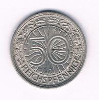 50 PFENNIG 1927 J  DUITSLAND /1517/ - [ 3] 1918-1933 : Republique De Weimar