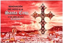 CANJÁYAR (ALMERÍA). VOTO SANTA CRUZ. TARJETA PREFRANQUEADA ESPAÑA. TARIFA A. ENTERO POSTAL. Postcard Paid Postage. - Entiers Postaux