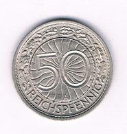50 PFENNIG 1936 A   DUITSLAND /1520/ - [ 3] 1918-1933 : Republique De Weimar