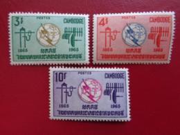 CAMBODGE 1965 Y&T N° 161 à 163 ** - CENTENAIRE DE L'UNION INTERN. DES TELECOMMUNICATIONS - Cambodia