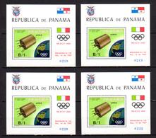 Panama 1969, Jeux Olympique De Mexico, 4 X Mi BK105**, MI 130 Dm - Verano 1968: México