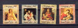Sainte- Lucie 1992, Tableaux, Noël, 985 / 988**, Cote 7 € - St.Lucie (1979-...)