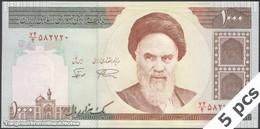 TWN - IRAN 143c - 1000 1.000 Rials 1994-2003 DEALERS LOT X 5 - Series 74/4 - Signatures: Noorbakhsh & Namazi UNC - Iran
