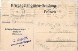 CARTE DE PRISONNIER   DE STUTTGART..POUR LA FRANCE F.M  ..  1917..TBE SCAN - Poststempel (Briefe)