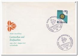 Duitsland 1967, Karlsruhe Garden Show And Postage Stamp, Gladiolus Show - Brieven En Documenten