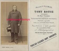CDV Homme élégant-haut De Forme-photo Tony Rouge Ex Plumier à Paris - Fotos