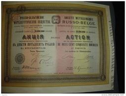 """Action""""Sté Métallurgique Russo-belge""""Russie Russia 1911 Très Bon état,avec Coupons Attaches Avec Une Epingle. - Russland"""