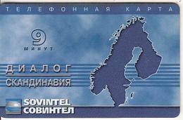 RUSSIA - Map Of Scandinavia, Sovintel Prepaid Card 9 Min, Tirage 3000, Exp.date 31/12/00, Used - Russie