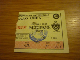 Olympiakos-Maribor Branik UEFA CUP Game Football Match Ticket Stub 12/09/1995 - Tickets & Toegangskaarten