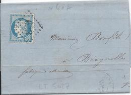 LT5027 Variété/n°60/lettre, Oblit GC 633 Brignolles, Var (78) De Marseille Pour Brignolles Du 28 Oct 1871 - 1871-1875 Ceres