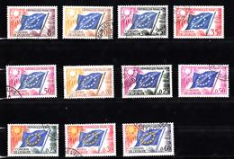 Frankrijk Dienstzegels Europavlaggen: 1958 + 1963 + 1965: Mi Nr  2 Tm 12, Conseil De L'Europe - Oblitérés