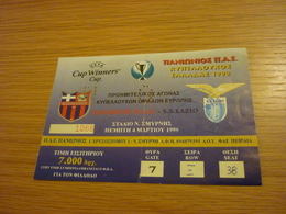 Panionios-SS Lazio UEFA CUP Game Football Match Ticket Stub 04/03/1999 - Tickets & Toegangskaarten