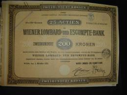 """Action""""Wiener Lombard Und Escompte Bank""""  Wien 1921 Vienne Très Bon état - Banque & Assurance"""