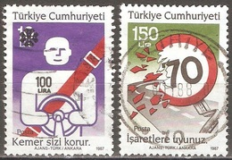 Turquie - 1987 - Sécurité Routière - YT 2522 Et 2524 Oblitérés - 1921-... Republiek