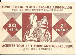 CARNET De 20 TIMBRES-2F-1928/-1-LUTTE CONTRE LA TUBERCULOSE-Reste 16 Timbres 1928 Et 13 De 1926 Dr Leannec-BE-RARE-TBE - Antituberculeux