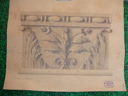 Kgl. Industrieschulen, Nuernberg, Bautechn. Abteilung., 1903, Friedrich Huber, Fusain, Feuilles D'Acanthe (20-397) - Pastel