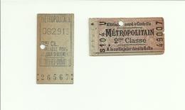 2 Tickets Très Anciens. Métropolitain Paris. Voir Description - Métro