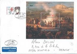 Grande Enveloppe De République Tchèque Avec Timbre + Bloc 2005 Austerlitz Thème Napoléon - Covers & Documents