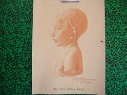 1912, Paul Dfauer Professor, Fritz Huber Architekt, Sanguine Buste De Garçon (20-400) - Pastel