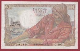 """20 Francs """"Pêcheur"""" Du 10/03/1949.A---TTB+---ALPH .Q.193- -3 TROU D EPINGLE - 1871-1952 Anciens Francs Circulés Au XXème"""