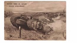 """British Tank In Action"", Smashing German Defences, WW I Postcard, 1918 - Guerre 1914-18"