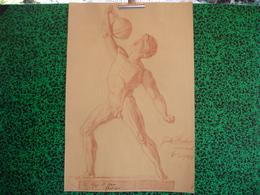 1906, Paul Dfauer Professor, Fritz Huber Architekt, Sanguine, Homme Nu, Athlete Avec Poids (20-401) - Pastel