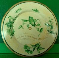 FLEURS CARTE VOEUX  XIX ème LISERONS Sur Une ASSIETTE , 3D , TUCK , DIE CUT . Cute Victorian Card PLATE  Flowers  CHROMO - Fleurs
