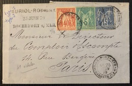 Lettre Tricolore Sage Tarif à 60c N°70 N/B, 75 & 90 N/U Obl Rochefort Sur Mer Pour Paris Combinaison RR - 1876-1878 Sage (Tipo I)