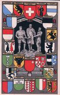 Suisse, Fête Nationale 1 Er Août 1291, Armoirie Des Cantons, Litho (6032) - Other