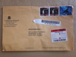 Une Enveloppe De Guyane A Circulé En Argentine Avec Des Timbres D'oiseaux Et Autres - Guyane (1966-...)