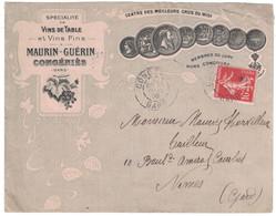 BELLE ENVELOPPE ILLUSTRÉE MAURIN GUÉRIN VIN DE TABLE VINS FINS RAISIN CONGÉNIÉS GARD AFFRANCHIE SEMEUSE Pr NIMES 1908 - Poststempel (Briefe)
