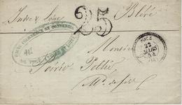 1854- Lettre De POCE ( Indre Et Loire ) Cad T22  + Taxe 25 Dt - Marcophilie (Lettres)