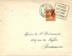 """1937- Enveloppe De POCE Sur CISSE ( Indre Et Loire )affr. 25 C Oblit. DAGUIN """" POCE /SUR-CISSE / SES VINS / SES COTEAUX - Marcophilie (Lettres)"""