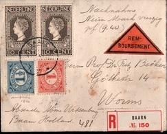 ! Old Reco Cover, Remboursement, 1914, Einschreiben Mit Nachnahme, Baarn, Holland, Niederlande Nach Worms - Period 1891-1948 (Wilhelmina)