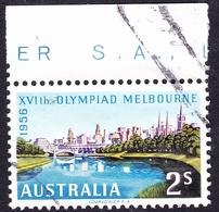 AUSTRALIA 1956 QEII 2/- Multicoloured Melbourne Olympics Gutter SG293 FU - 1952-65 Elizabeth II : Pre-Decimals