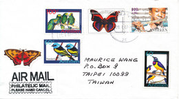 Netherlands Antilles Cover Sent Air Mail To Taiwan 29-1-2007 Topic Stamps BIRDS BUTTERFLY And MUSIC - Curacao, Netherlands Antilles, Aruba