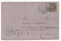 SAGE 10C DAGUIN TRACES DU PISTON PARIS EXPOSITION UNIVelle 31 OCT 1889 CARTE RARE E HANAU TOUR EIFFEL - Poststempel (Briefe)