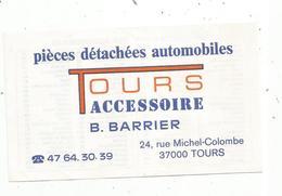 Carte De Visite , Pièces Détachées Automobiles, Tours Accessoires  Barrier,Tours, Verso Immatriculation Des Automobiles - Visiting Cards