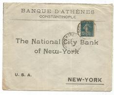 SEMEUSE 25C LETTRE ENTETE BANQUE D'ATHENES CONSTANTINOPLE TRESOR ET POSTES 508 1916 - Storia Postale