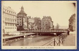 PHOTO ANCIENNE CDV CIRCA 1870 - SUISSE - GENEVE - LA TOUR DE L'ILE - GARCIN, PHOTOGRAPHE A GANEVE - Anciennes (Av. 1900)