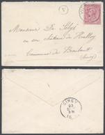 """émission 1884 - N°46 Sur Lettre Obl Simple Cercle """"Vierves"""" + Boite Rurale """"V"""" Vers Château De Halloy (Ciney) - 1884-1891 Leopold II"""