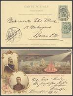 "EP Au Type 5ctm Vert Illustré ""Exposition Universelle Bruxelles 1897"" + N°56 Voyagé De Bruxelles Vers Berlin - Postwaardestukken"