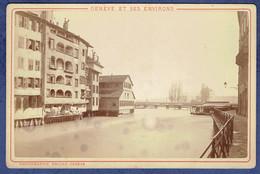 PHOTOGRAPHIE ANCIENNE CIRCA 1870 - SUISSE - GENEVE - MAISONS BORD DU RHONE - PHOTOGRAPHIE PRICAM - Anciennes (Av. 1900)