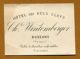 """BUSSANG  (88) : """" HÔTEL DES DEUX CLEFS - Charles WINTEMBERGER """" - Cartes De Visite"""