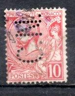 MONACO -- Timbre Perforé Perfin Luchung-- 10 C. Rouge Albert 1er  -- C.N. 12 - 20 - Indice 3 - Variétés