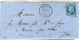 FRANCE 1871: LAC De Louhans (Saône Et Loire) Du 18-12-72 Pour Baudin (Jura)) Avec Le Y&T60A Et Obl. GC2096 (Ind.3) - 1871-1875 Cérès