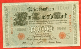 Germany 1910. Banknote 1000 Marks. Red Stamp.VF. - 1000 Mark