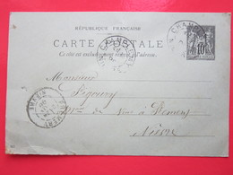 Cp écrite FERBLANTIER à CHAMPLEMY (58) Le 24/11/1898 Oblitérée CHAMPLEMY & PREMERY (58) Timbre Entier Type SAGE - Ganzsachen