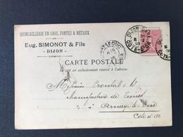 CPA Quincaillerie Fonte Métaux Dijon Simonot Cachet Marque Postale Gare De Dijon - Poststempel (Briefe)